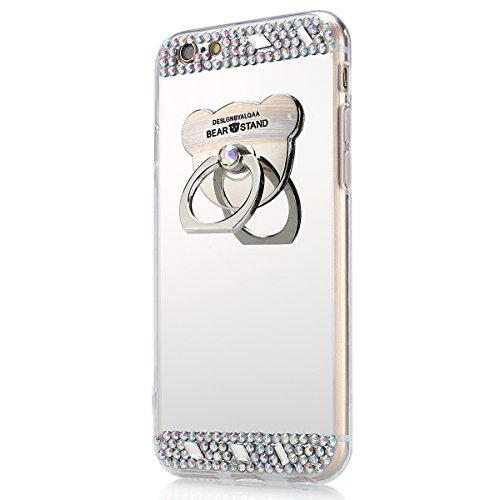 iPhone 7 Plus Hülle,iPhone 7 Plus Schutzhülle,JAWSEU Glitzer TPU Handyhülle Spiegel Hülle für iPhone 7 Plus mit Bär Ring Fingerhalterung Ständer, Spiegel Mirror Effect Glitzer Glänzend Sparkle Strass  Bär Silber