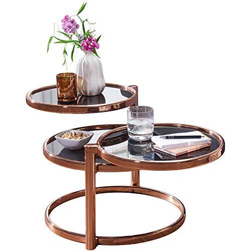 FineBuy Couchtisch SINA mit 3 Tischplatten Schwarz/Kupfer 58 x 43 x 58 cm | Beistelltisch Rund | Design Wohnzimmertisch Glas/Metall | Designer Glastisch Sofatisch modern | Kleiner Loungetisch
