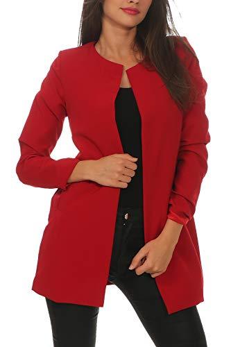 DANAEST Damen Mantel elegant lässiger Doppelreihiger Light Coat (639), Farbe:Bordeaux, Blazer 1:38 / M
