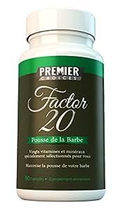 Pousse de la barbe - Facteur 20 - Stimulateur pour la barbe aux résultats maximum - 20 ingrédients de qualité supérieure - Excellents résultats pour une barbe plus fournie et plus douce - Convient pour les végétariens - Profitez d'une barbe plus dense, plus forte et en meilleure santé - 90 capsules - une VRAIE réserve COMPLÈTE pour un mois - Fabriqué au Royaume-Uni Garantie 100% Satisfait ou Remboursé d'Amazon