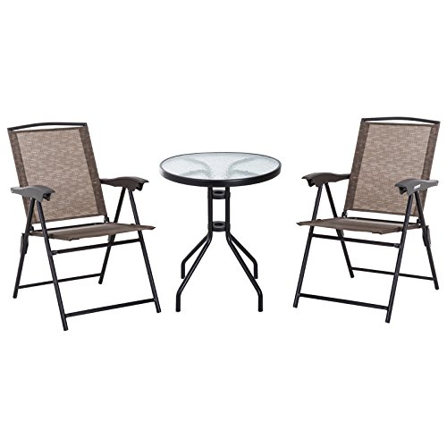 Outsunny Bistroset Balkonset Sitzgarnitur 3-tlg. klappbar Textilene Braun