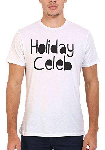Holiday Celeb Summer Cool Funny Men Women Damen Herren Unisex Top T Shirt .Weiß