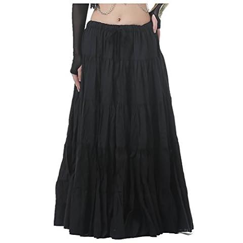 Seawhisper Belly Dance 16 Yard Bohemia Skirt, Swing Skirt, Tiered Maxi Tribal Gypsy Skirt Flared Long Retro Vintage Beach Summer Linen Dress Costume with Gold Coins Belt Waist Chain (black)