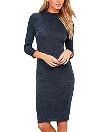 Vestiti Donna Eleganti Corti Invernali Casual Manica 3 4 Girocollo Slim Fit  Pacchetto Hip Vintage Moda Hipster Abiti… 55ea8b8d756