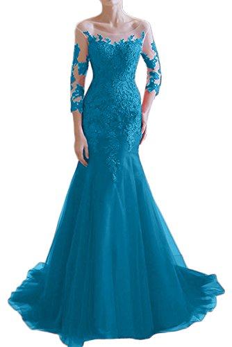 Victory Bridal - Robe - Crayon - Manches 3/4 - Femme Bleu