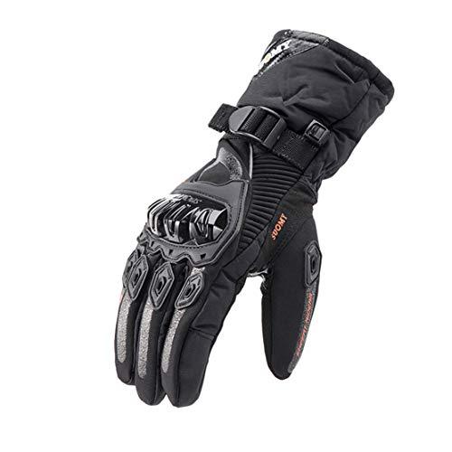 Guanti da Moto Invernali Caldi Impermeabile Touch Screen Guanti a Dito Pieno Guanti da Equitazione Professionali, Addensare & Allungare Stile,Black,M