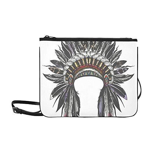 Kostüm Indian Apache - WOCNEMP Bunte Federschmuck Muster benutzerdefinierte hochwertige Nylon dünne Clutch Crossbody Tasche Umhängetasche