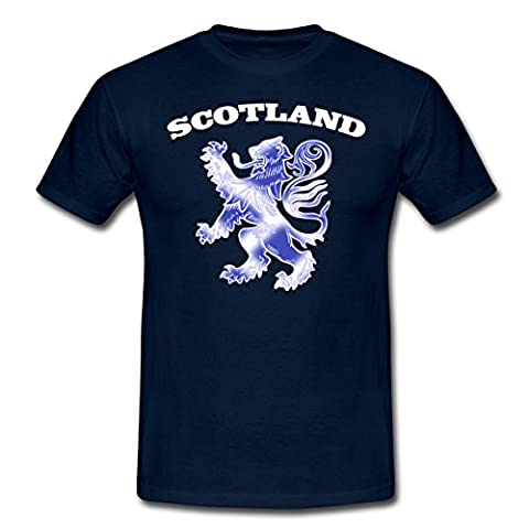 Scottish Lion Rampant Scotland Saltire Flag Men's T-Shirt by Spreadshirt®, M, navy