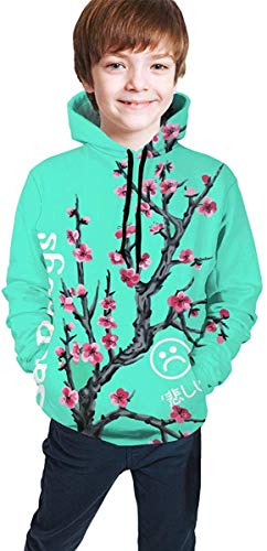 Jugend Kapuzenpullover Jungen Mädchen Teen Boys Girls 3D Sad Boys Plum Blossom Pullover Hoodies Hooded Sweatshirts Tops Blouse with Pocket