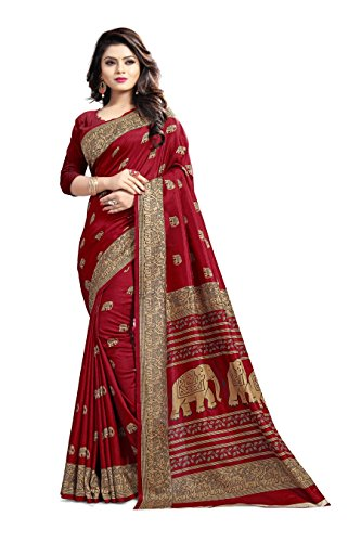 Saree Center Cotton Silk Saree (Red, Free Size)