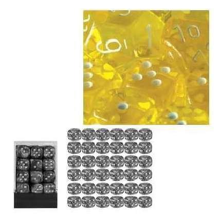 Chessex 23802 - Würfelset durchscheinend gelb, 36 6-seitige Würfel (12mm) - Würfel Gelb In 12mm