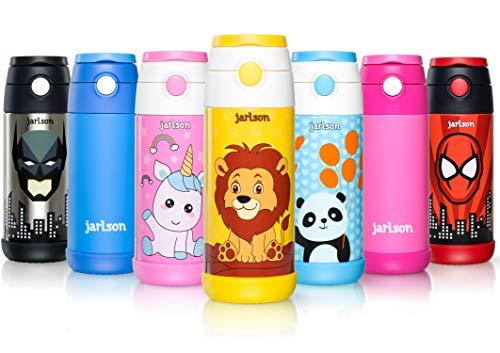Jarlson Trinkflasche Kinder | Thermo Edelstahl Wasserflasche 350ml | BPA frei | auslaufsicher | Kinderflasche mit Strohhalm | Flasche für Schule, Sport, Kindergarten (Löwe, 350 ml) - Glas Legen