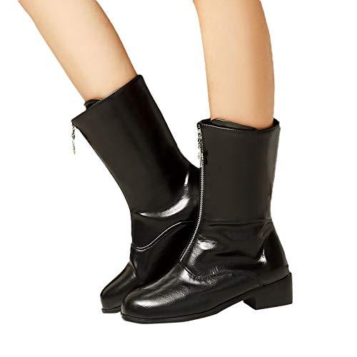 MYMYG Damen Stiefeletten Chelsea Boots mit Blockabsatz Profilsohle Plateau Vorne Flandell Reine...