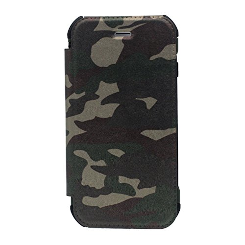 Rabat iPhone 6 Plus Coque de Protection Cuir Case, Carte Titulaire Skid Resistance Anti choc Original Camouflage Conception Rigide Housse de protection pour Apple iPhone 6S Plus / 6 Plus 5.5 inch vert
