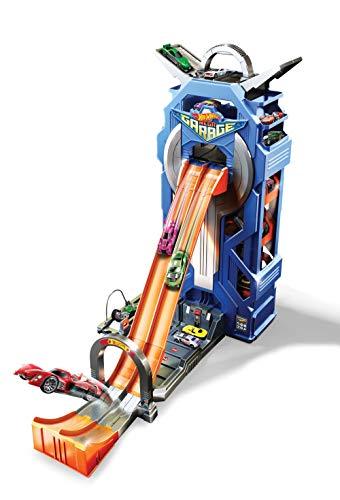 Hot Wheels FTB68 City Power Parkgarage, Stunt Spielzeug Garage und Parkhaus für +35 Autos inkl. 1 Spielzeugauto, ca. 57 cm hoch, ab 5 Jahren (Garage Spielzeug)