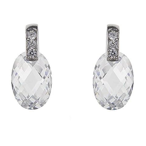 Blanc/Clair Sparkling Coupe Ovale Oxyde de Zirconium (CZ) à facettes ovale Solitaire Boucles d'oreilles pendantes–Argent 925–– Livré dans une boîte cadeau gratuit ou sac cadeau