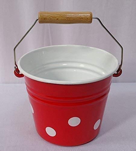 Kleiner Antiker Kinder Eimer, Emaille Tisch Eimer, Tupfen Rot- Weiß -