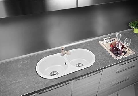 Évier granit 770x 400mm avec siphon Blanc Classique 2Bac 2Chambre Évier