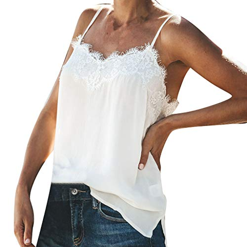 POLP Camisetas sin Mangas Encaje Sexy Tank Tops Blusa Camiseta de Tirantes Blanca Mujer S,M,L,XL,XXL