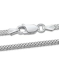 Amberta® Joyería - Collar - Fina Plata De Ley 925 - Cadena de Plano de Palomitas de maíz - 2.5 mm - 40 45 50 55 60 cm