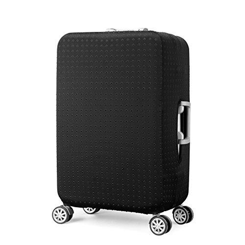 Elastisch Kofferhülle Kofferschutzhülle Gepäck Cover Reisekoffer Hülle Koffer Schutzhülle Luggage Cover mit Reißverschluss und Band, Schwarz (M)