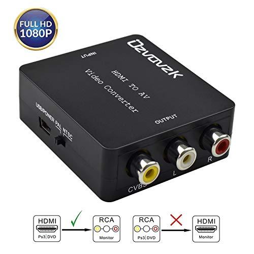 HDMI zu AV,Ovzavzk 1080P HDMI auf RCA CVBS Konverter Adapter Wandler HDMI to AV Converter für TV/PS3/VHS/VCR/DVD