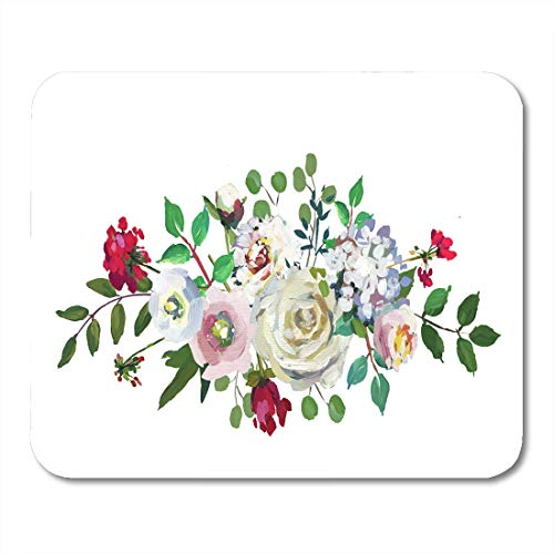 AOHOT Mauspads Green Arrangement Pastel Floral Bouquet Drop Hand Mint Light Pink Wedding Flowers on Watercolor Botanical Mouse pad Mats 9.5