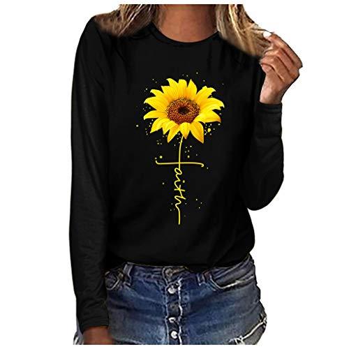 yazidan Frauen T-Shirt Casual Sommer Langarm T Sonnenblumen Print Loose Fit Bluse Tops Shirts für Frauen