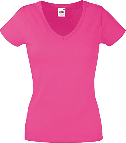 Lady-Fit Valueweight V-Neck T-Shirt von Fruit of the Loom Fuchsia S