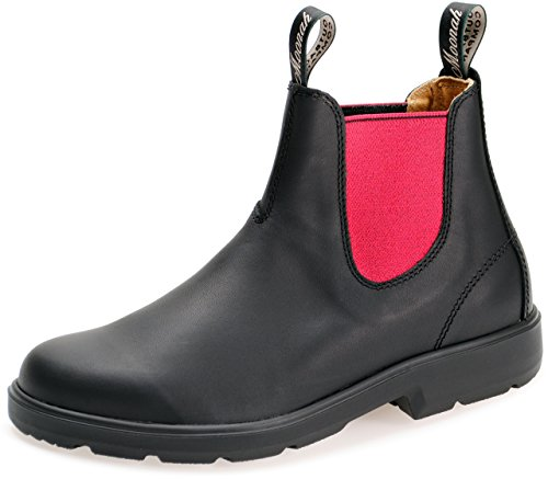 Moonah Chelsea Damen Boots Outdoor Stiefelette Glattleder - Black/Pink + Lederwax