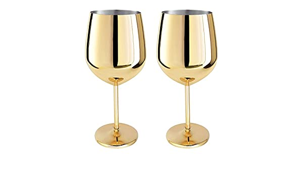 Magicpro 1810 Stainless Steel Wine Glasses, Set of 2,rose gold