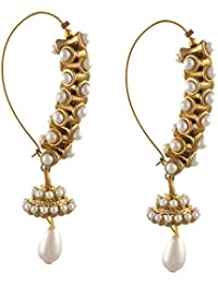 Zephyrr Jewellery Traditional Gold Tone Hoop Earrings With Kundan Meenakari Pearls