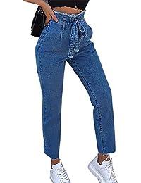 Dihope Damen Jeans Spitze Jeanshose Bleistifthose Denim Lang