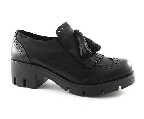 Divine Follie 1534U Schwarze Schuhe ohne Schnürsenkel Englisch Sohle Mikro Nero