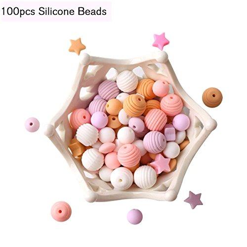 baby tete Perles de Silicone Bébé pour la Dentition 100pcs Dentition Organique Lâche de Dentition de Bijoux Série Rose Collier Pendentif Bricolage