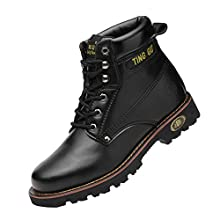 Steel Toe Mens Womens Safety Boots Work Waterproof Shoes Leather Industrial & Construction Indestructible Protect Working Ankle Footwear (10 UK, Black)