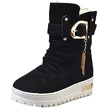 Botas, Manadlian Zapatos borla casuales de mujer Botines de nieve Botas calientes de invierno (EU:35, Negro)