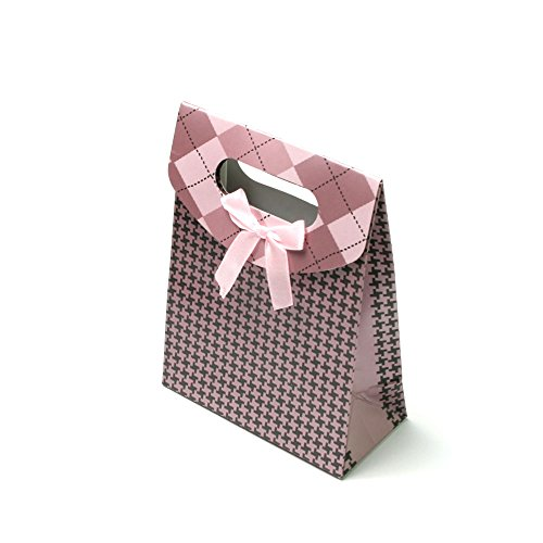 Geschenktüte in Rosa-Schwarz mit Muster und Schleife, mit Klettverschluss 090-00001