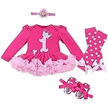 Marlegard® Baby Girls 4pcs Hot Pink Birthday tutù con fascia shoe leggings
