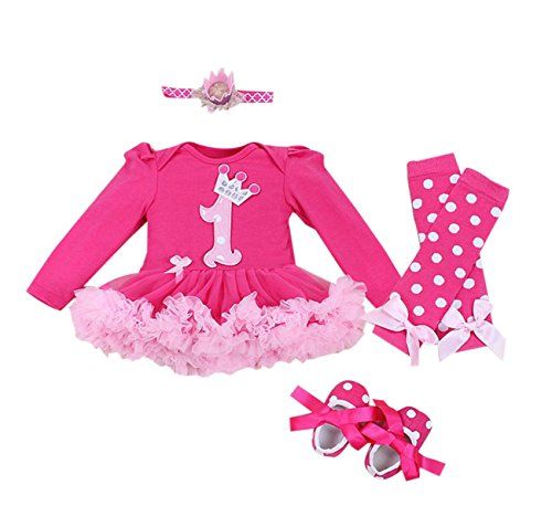 Baby Girls' 4PCs Hot Pink Birthday Tutu Dress Crown Headband Shoe Leggings(6-9months)