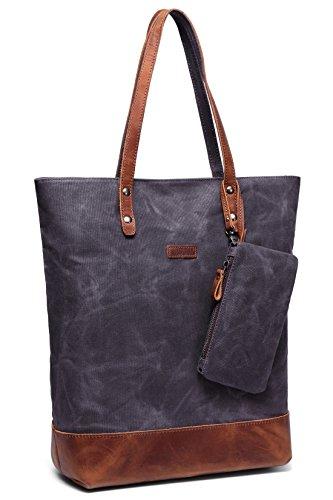 Leder-Canvas Tote, Vaschy Wasserdicht Große Shopper Tasche für Frauen Arbeit Tasche Frauen Handtasche mit Gepolsterten 15.6 Zoll Laptop-Hülle (Taschen Leder Canvas)