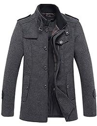 dbc278e5d915 ORANDESIGNE Homme Manteau Laine Mélange Veste Chaud Slim fit Trench Coat  Hiver Manche Longue Blazer Outwear