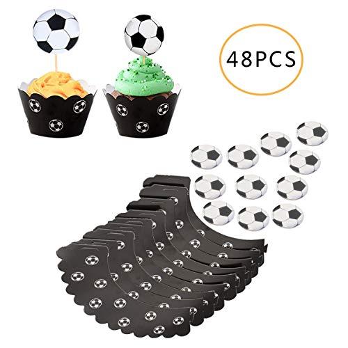 Osuter 48PCS Cupcake Topper Fussball, Kuchendeko Set Kuchendeckel Exquisit Cupcake Wrapper für Kinder Geburtstag Party Hochzeit Dekoration