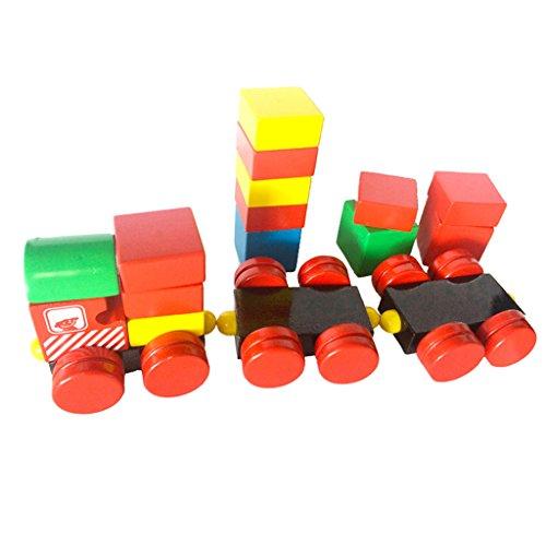 MagiDeal Holzblöcke Holzeisenbahn Autoreisezug mit Anhängern Kinder pädagogisches Spielzeug Geschenk - Mehrfarbig - # B