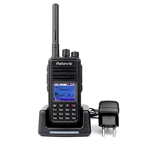 Retevis RT3 DMR Digitales Funkgerät 5W 1000 Kanäle TDMA Technologie Farb LCD Display Amateurfunk mit Headset und 2 Antenne(Schwarz)