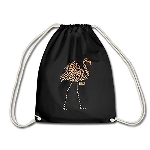 Spreadshirt Animal Planet Leoprint Flamingo Turnbeutel, Schwarz
