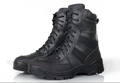 WZG Caduta ad alta cima stivali desert boots delle forze speciali stivali da combattimento da uomo tattico stivali volo pattini respirabili , black , 43