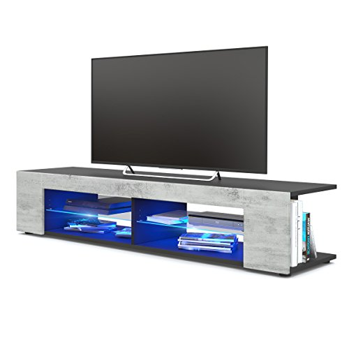 TV Board Lowboard Movie, Korpus in Schwarz matt / Fronten in Beton Oxid Optik inkl. LED Beleuchtung in Blau