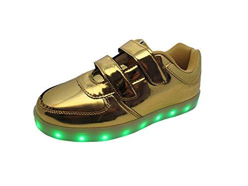 LED Leuchtende Sneakers mit USB Anschluss zum aufladen für Kinder - Gr. 30-37 Gold (Doppel Klett)
