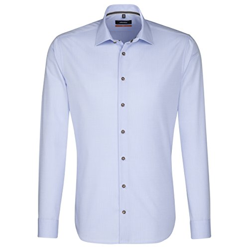 SEIDENSTICKER Herren Hemd Slim 1/1-Arm Bügelfrei Uni / Uniähnlich City-Hemd Kent-Kragen Kombimanschette weitenverstellbar hellblau (0011)